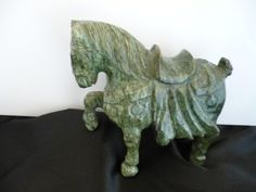 Asian Tang Style Hand Carved Green Soapstone/Jadestone War Horse