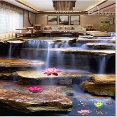 Natural Stream and Goldfish Pattern Home Decorative Waterproof Splicing 3D Floor Murals - beddinginn.com