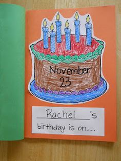 Birthday class book and lots of other class book ideas for September
