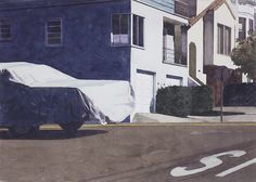 Robert Bechtle (American, b. 1932), Covered Car – Missouri Street, 2007. Watercolor on paper, 10 x 14 in.
