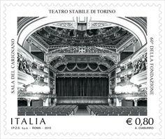 """Francobollo ordinario appartenente alla serie tematica """"il Patrimonio artistico e culturale italiano"""" dedicato al Teatro Stabile di Torino"""