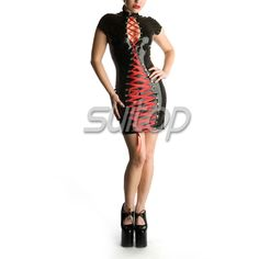Barato Fetiche de borracha estilo vestido com laço decorativo, Compro Qualidade Vestidos diretamente de fornecedores da China: Fetiche de borracha estilo vestido com laço decorativo