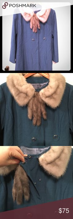 Vintage Peacock Blue Tweed/Fur Coat, Size L Vintage Peacock Blue Tweed/Fur Coat, Size 10 Mid-calf length, deep pockets, Real mink fur collar and tassels, original vintage clasps and buttons. Jackets & Coats