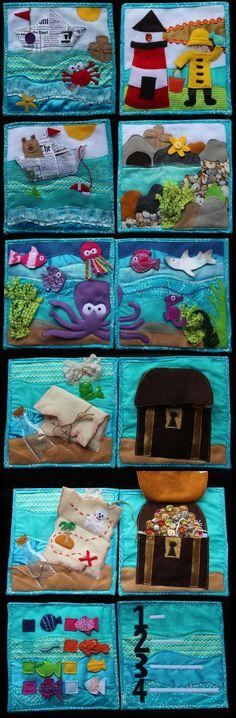 Ocean Quiet book complete by CEG 2013 (does not link to source) Diy Quiet Books, Baby Quiet Book, Felt Quiet Books, Baby Crafts, Felt Crafts, Fabric Crafts, Silent Book, Sensory Book, Quiet Book Patterns