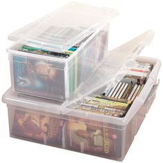 Stacking media storage boxes from Miles Kimball keep your items dust-free and easy to see. Organize CDs, DVDs, VHS tapes, photos in clear media storage bins.