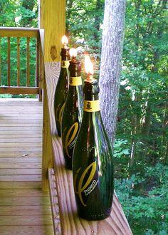 Wine glass tiki torches