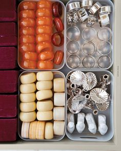 Grouped in plastic bins, Martha's Bakelite, porcelain, silver, and ivory…