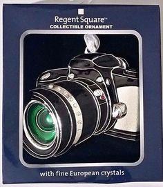 Regent Square CAMERA Collectible Ornament w/Fine European Crystals