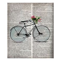 Newsprint Bicycle Silhouette Canvas Print would make a cute bag
