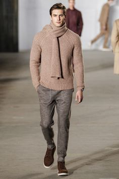 Todd Snyder Fall 2016 Menswear Fashion Show. Nice dusty pink sweater. Goes well with the dusty brown pants.