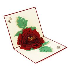 Peony Pattern 3D Greeting Card Pop Up Postcard Birthday Christmas New Year Folding Kirigami Card for Wedding Valentine's Day
