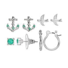 LC Lauren Conrad Anchor & Bird Stud & Hoop Earring Set