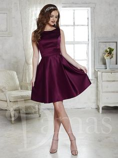 Dama Dress #52366 - Joyful Events Store Short satin dress with pleated skirt, bateau neckline, and keyhole open back with lace-up back. Pictured in: Sangria. Satin - See more at: http://www.joyfuleventsstore.com/party-dama-dresses/dama-dresses/dama-dress-52366/#sthash.VVDz5GKy.dpuf