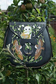 large four pocket boho bag with barn owls and mistletoe design on black leather