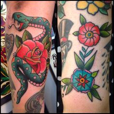Snake and rose tattoo by Sara Purr www.sarapurr.com