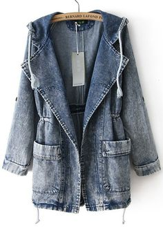 trench coat em jeans #guiajeanswear                                                                                                                                                                                 Mais