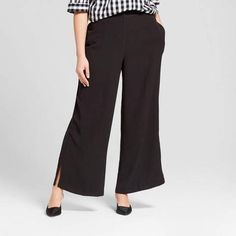 Women's Plus Size Straight Leg Side Slit Trouser - Who What Wear™ Black What To Wear To A Wedding, How To Wear, Who What Wear, Wearing Black, Black Pants, Plus Size Women, Women Wear, Trousers, Legs