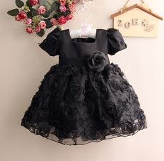 Little princess with the elegant and smart black party dress for your