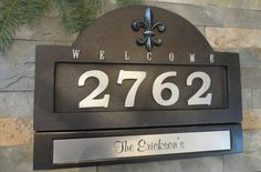 French Country Fleur De Lis Home Address Plaque customized House Numbers and engraved nameplate