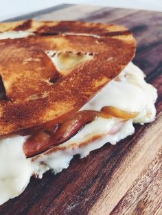 Pretzel Grilled Cheese with Ham, Caramelized Onions and Wisconsin gouda