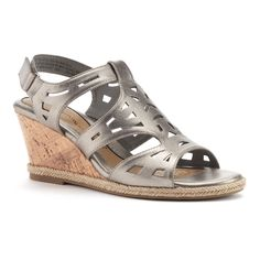 Croft & Barrow® Women's Ortholite Cork-Patterned Wedge Sandals, Size: 7.5, Light Grey