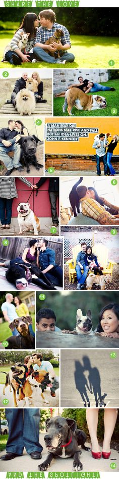 Many different ways to incorporate your pup in your engagement pictures! I must do these! <3