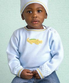 Look what I found on #zulily! Blue Alligator Hand-Knit Sweater - Infant, Toddler & Boys #zulilyfinds