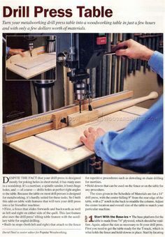 DIY Drill Press Table - Drill Press