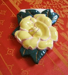 Vintage Yellow Rose With Green Leaves Wall Pocket by MinaMinette @etsy.com