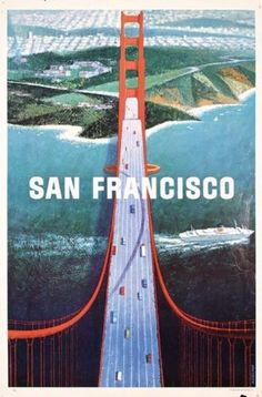 San Francisco Travel Poster GG Bridge 1960s