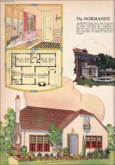 """1925 Radford - Normandy - American Builder  """"A French cottage with a dash of old world charm is presented in this cozy bungalow of five rooms. Such houses are a satisfaction to build and a joy to live in. They never lack for a buyer or tenant. The color sketch ... shows how conveniently the kitchen in this homes is arranged."""""""