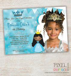 Princess Invitation, Princess Birthday, Princess Birthday Invitation, Princess, Princess Birthday Party, Princess Party, Pink, Harlequin
