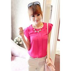 Sweet High-Low Hem Fly Sleeve Solid Color Chiffon Blouse For Women