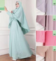 Model Baju Gamis Syari Jersey Motif Bunga G1107 Elegan Edisi