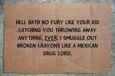 Hell hath no fury like a you kid catching you throwing away anything, ever! I smuggle out broken crayons like a Mexican drug lord. Mommy Quotes, Me Quotes, That Way, Like You, Mexican Drug Lord, Organic Beef, Broken Crayons, Family Affair, Have A Laugh