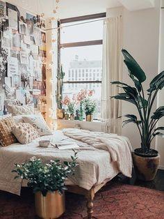 Dormitorio estilo teen con plantas