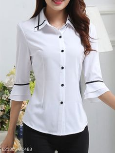 Spring Summer Polyester Women Turn Down Collar Single Breasted Contrast Piping Plain Half Sleeve Blouses Casual Tops For Women, Blouses For Women, Blouse Styles, Blouse Designs, Best Plus Size Jeans, Beautiful Dress Designs, Only Shirt, Summer Blouses, Blouse Online
