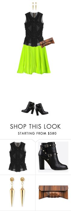 """Lime Rockstuds"" by stacylynnwill ❤ liked on Polyvore featuring Jill Stuart, Balmain, Valentino and Sydney Evan"