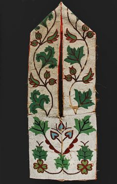 OJIBWAY BAG - 19th c Beaded Bandolier Bag with green purple and red vine design over tan field, fully beaded, red stroud cloth binding, having