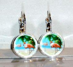 Ohrringe Flamingo Glas Damen Hänger Ohrschmuck Modeschmuck Neuware