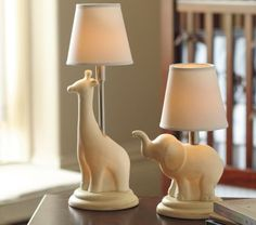 Giraffe and elephant lamps for nursery
