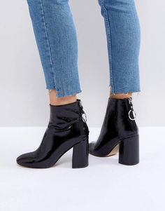 e1b7bbb1683 Shop Steve Madden Posed Black Heeled Ankle Boots at ASOS.