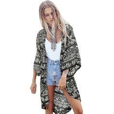 New Fashion Women Chiffon Cardigan Kimono Elephant Floral Print Boho Loose Thin Blouse Outerwear Beach Cover Up Black/Dark Blue