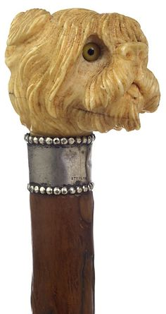 CARVED IVORY TERRIER HEAD CANE - Cowan's Auctions