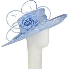 John Lewis Thea Slanted Brim Occasion Hat, Bluebell Blue ($210) ❤ liked on Polyvore featuring accessories, hats, blue hat, john lewis hats, crown hat, john lewis and rosebud hats