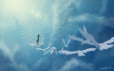 Wallpaper art in the sky, birds, girl, fantasy, clouds Bird Wallpaper, Computer Wallpaper, Yin Yang, Hiroshima E Nagasaki, Stairway To Heaven, Background Images, Wallpaper Backgrounds, Clouds, World