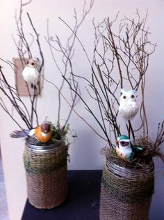 #Centerpiece for outdoor, nature, forest, bird theme.  #wedding #nature #diy #twigs #owls
