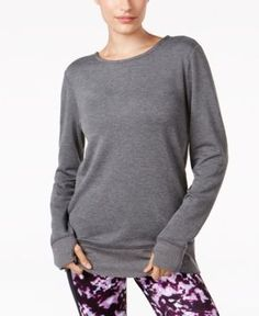 Ideology Thumbhole Top, Only at Macy's - Gray XL