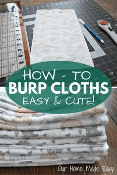 Homemade Baby Burp Cloths - Homemade Baby Burp Cloths An easy step by step guide for beginning sewers! Perfect for a baby shower gift and can be made in less than 30 minutes! Sewing Projects For Kids, Sewing For Kids, Sewing Ideas, Sewing Tips, Diy Projects, Sewing Patterns, Burp Cloth Patterns, Sewing Crafts, Clothes Patterns