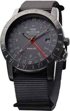 Reference: Glycine Airman base 22 mystery,Movement: ETA 2893-2 Automatic,Diameter: 42 mm,Case: Stainless steel black PVD,Water resistence: 200 meters,Dial: Black                                                          Functions: Date, 24 hr display                                                                                 Glass: Sapphire crystal                                                               Strap: Hi-tech fabric. Available at www.chronowatchcompany.com